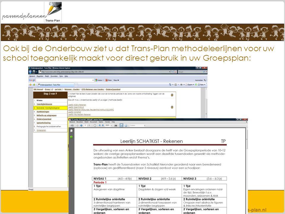 Ook bij de Onderbouw ziet u dat Trans-Plan methodeleerlijnen voor uw school toegankelijk maakt voor direct gebruik in uw Groepsplan: www.trans-plan.nl