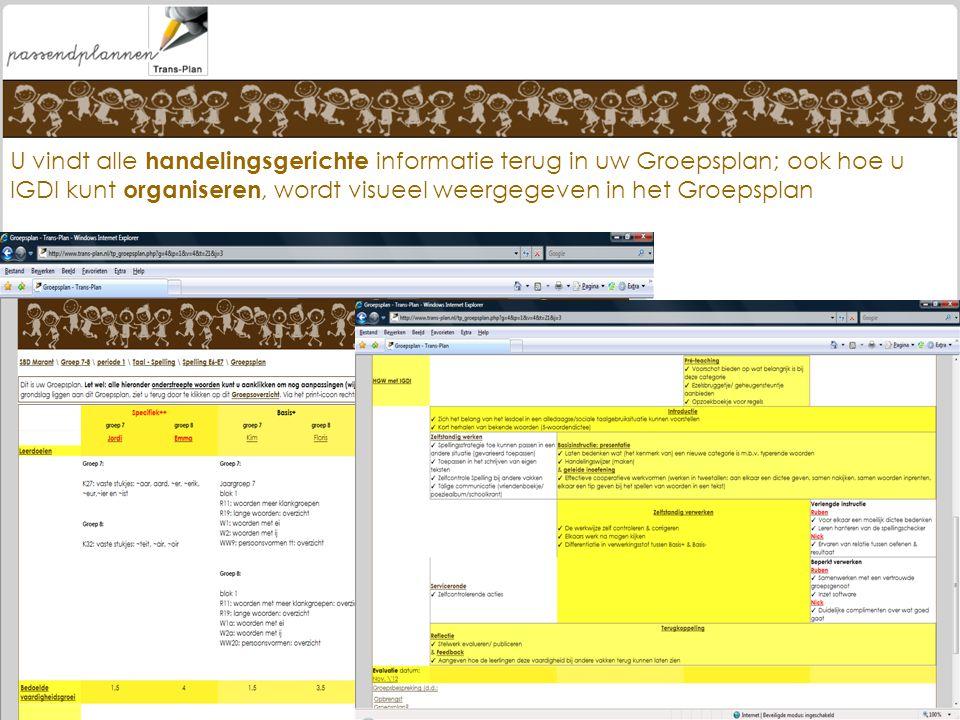 U vindt alle handelingsgerichte informatie terug in uw Groepsplan; ook hoe u IGDI kunt organiseren, wordt visueel weergegeven in het Groepsplan www.tr