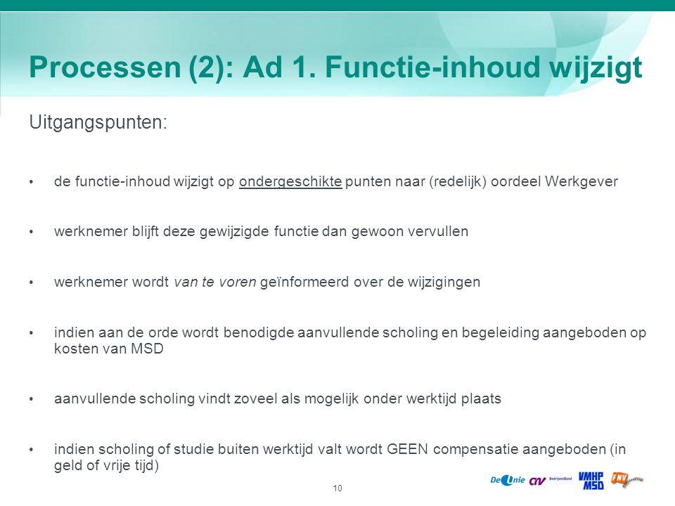 10 Processen (2): Ad 1. Functie-inhoud wijzigt Uitgangspunten: de functie-inhoud wijzigt op ondergeschikte punten naar (redelijk) oordeel Werkgever we