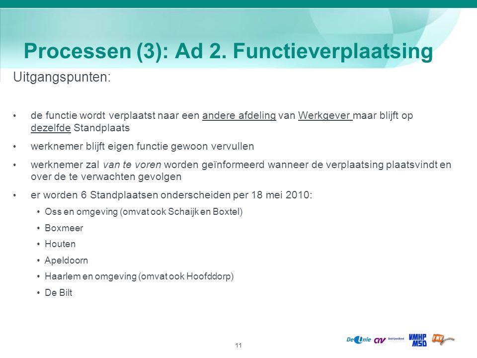 11 Processen (3): Ad 2. Functieverplaatsing Uitgangspunten: de functie wordt verplaatst naar een andere afdeling van Werkgever maar blijft op dezelfde