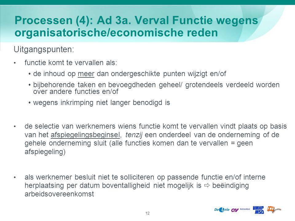 12 Processen (4): Ad 3a. Verval Functie wegens organisatorische/economische reden Uitgangspunten: functie komt te vervallen als: de inhoud op meer dan