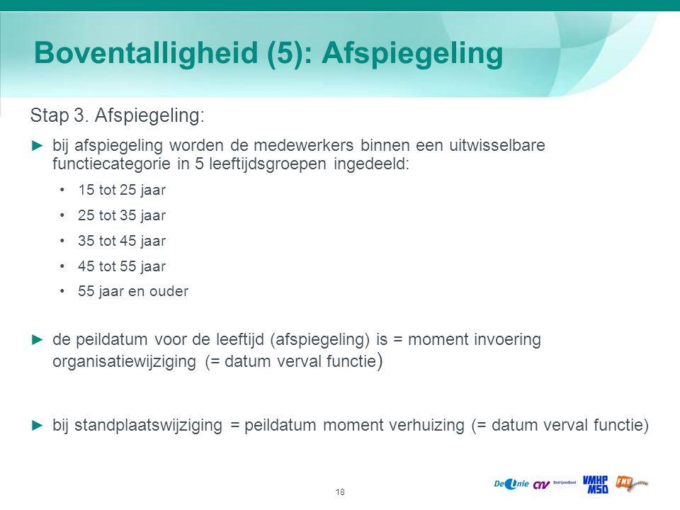 18 Boventalligheid (5): Afspiegeling Stap 3. Afspiegeling: ► bij afspiegeling worden de medewerkers binnen een uitwisselbare functiecategorie in 5 lee