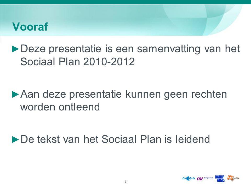 2 Vooraf ► Deze presentatie is een samenvatting van het Sociaal Plan 2010-2012 ► Aan deze presentatie kunnen geen rechten worden ontleend ► De tekst v