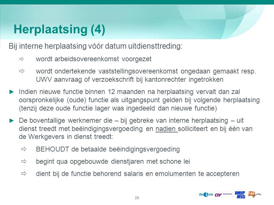 29 Herplaatsing (4) Bij interne herplaatsing vóór datum uitdiensttreding:  wordt arbeidsovereenkomst voorgezet  wordt ondertekende vaststellingsover