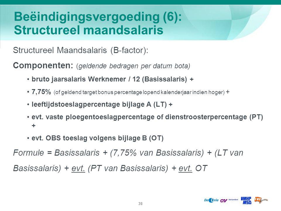 38 Beëindigingsvergoeding (6): Structureel maandsalaris Structureel Maandsalaris (B-factor): Componenten: (geldende bedragen per datum bota) bruto jaa
