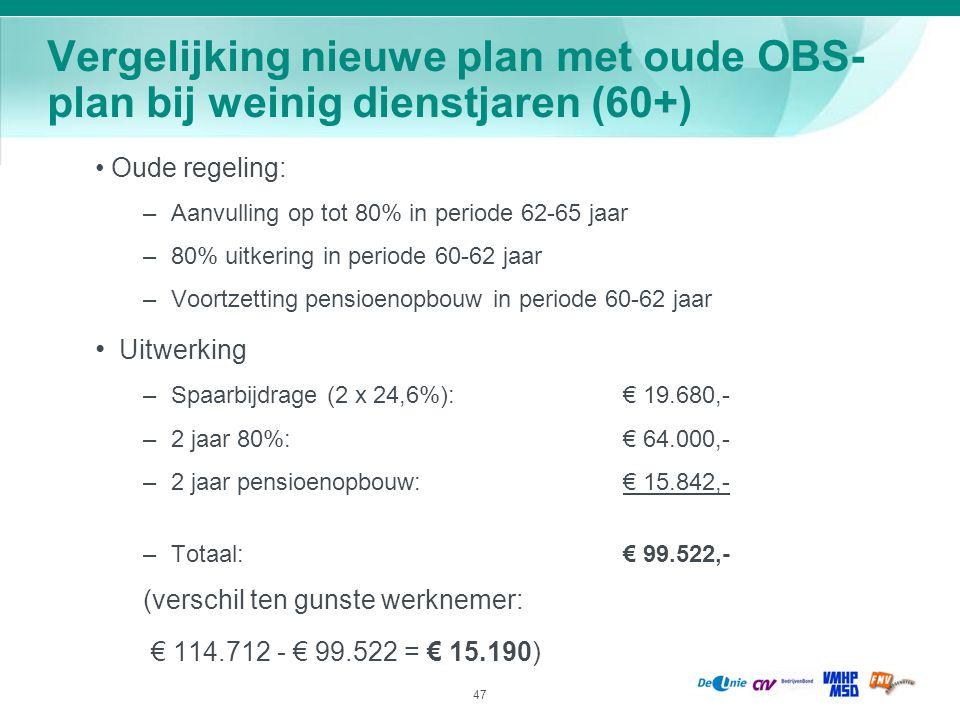 47 Vergelijking nieuwe plan met oude OBS- plan bij weinig dienstjaren (60+) Oude regeling: – Aanvulling op tot 80% in periode 62-65 jaar – 80% uitkeri
