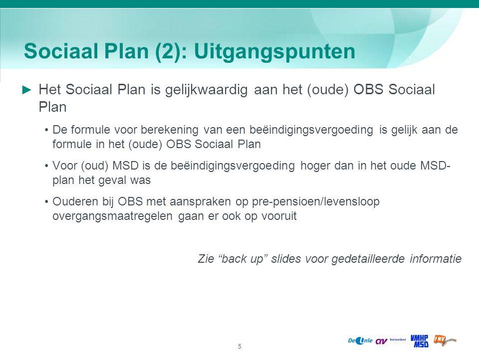 5 Sociaal Plan (2): Uitgangspunten ► Het Sociaal Plan is gelijkwaardig aan het (oude) OBS Sociaal Plan De formule voor berekening van een beëindigings