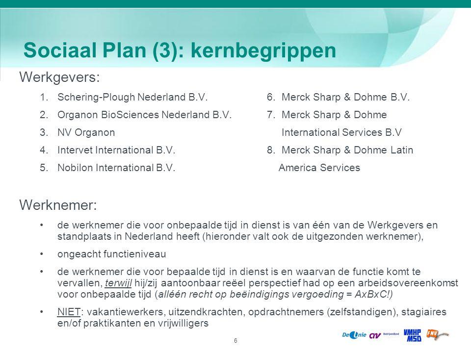 6 Sociaal Plan (3): kernbegrippen Werkgevers: 1.Schering-Plough Nederland B.V.6. Merck Sharp & Dohme B.V. 2.Organon BioSciences Nederland B.V.7. Merck