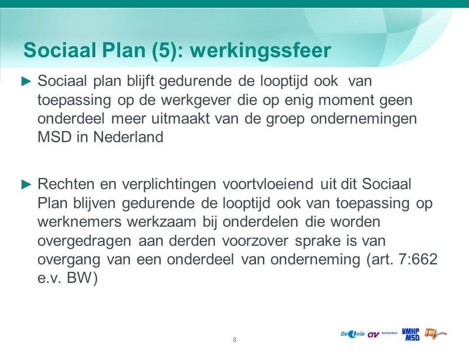 8 Sociaal Plan (5): werkingssfeer ► Sociaal plan blijft gedurende de looptijd ook van toepassing op de werkgever die op enig moment geen onderdeel mee