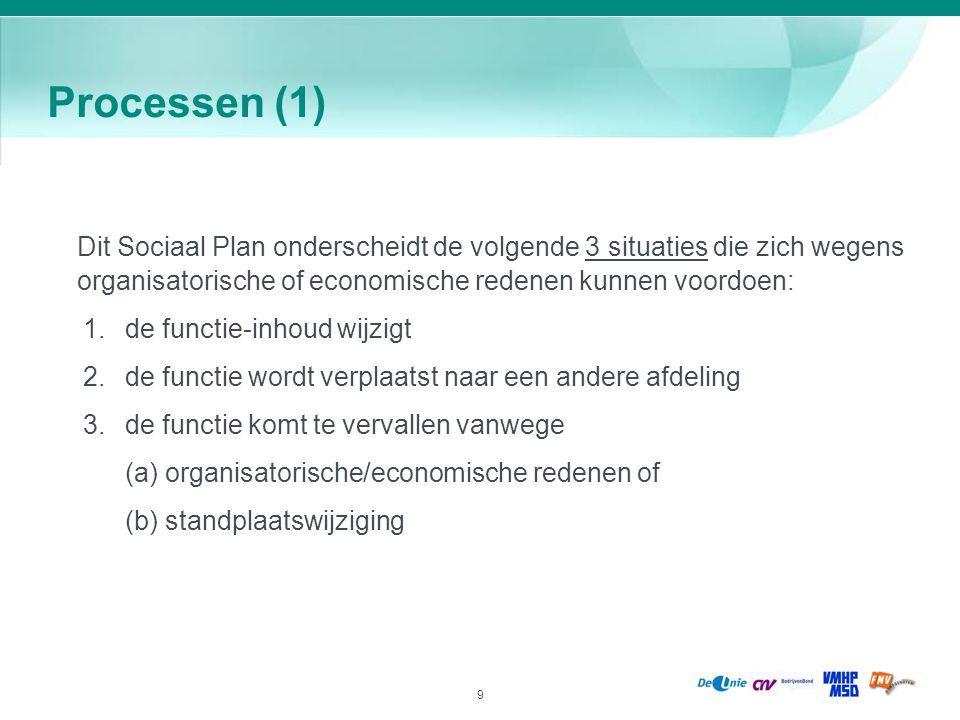 9 Processen (1) Dit Sociaal Plan onderscheidt de volgende 3 situaties die zich wegens organisatorische of economische redenen kunnen voordoen: 1.de fu