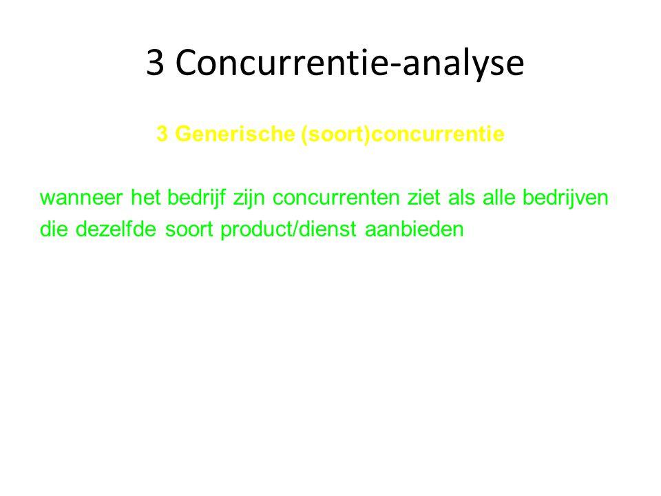 3 Concurrentie-analyse 3 Generische (soort)concurrentie wanneer het bedrijf zijn concurrenten ziet als alle bedrijven die dezelfde soort product/diens