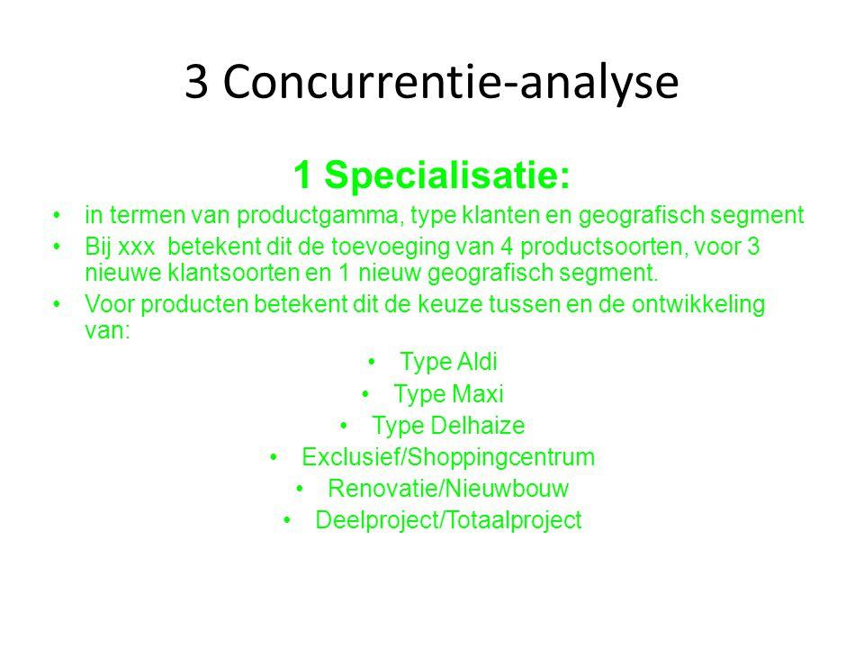 3 Concurrentie-analyse 1 Specialisatie: in termen van productgamma, type klanten en geografisch segment Bij xxx betekent dit de toevoeging van 4 produ