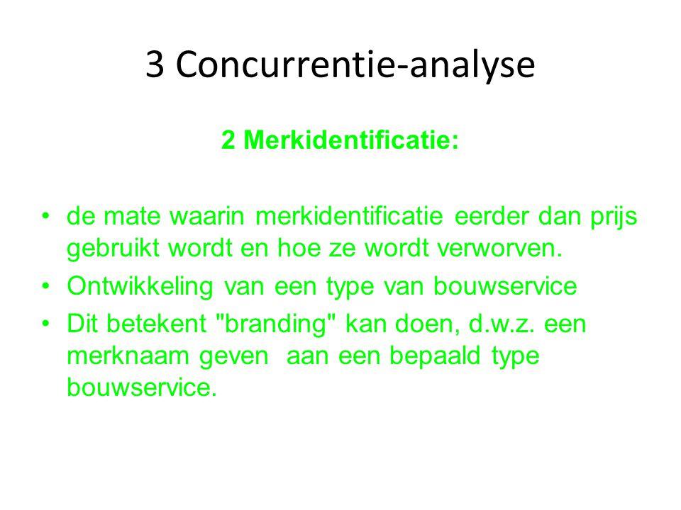3 Concurrentie-analyse 2 Merkidentificatie: de mate waarin merkidentificatie eerder dan prijs gebruikt wordt en hoe ze wordt verworven. Ontwikkeling v