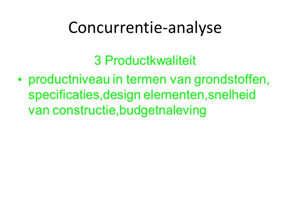 Concurrentie-analyse 3 Productkwaliteit productniveau in termen van grondstoffen, specificaties,design elementen,snelheid van constructie,budgetnalevi