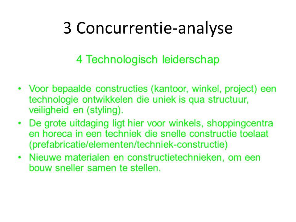 3 Concurrentie-analyse 4 Technologisch leiderschap Voor bepaalde constructies (kantoor, winkel, project) een technologie ontwikkelen die uniek is qua