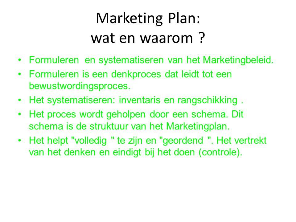 Marketing Plan: wat en waarom ? Formuleren en systematiseren van het Marketingbeleid. Formuleren is een denkproces dat leidt tot een bewustwordingspro