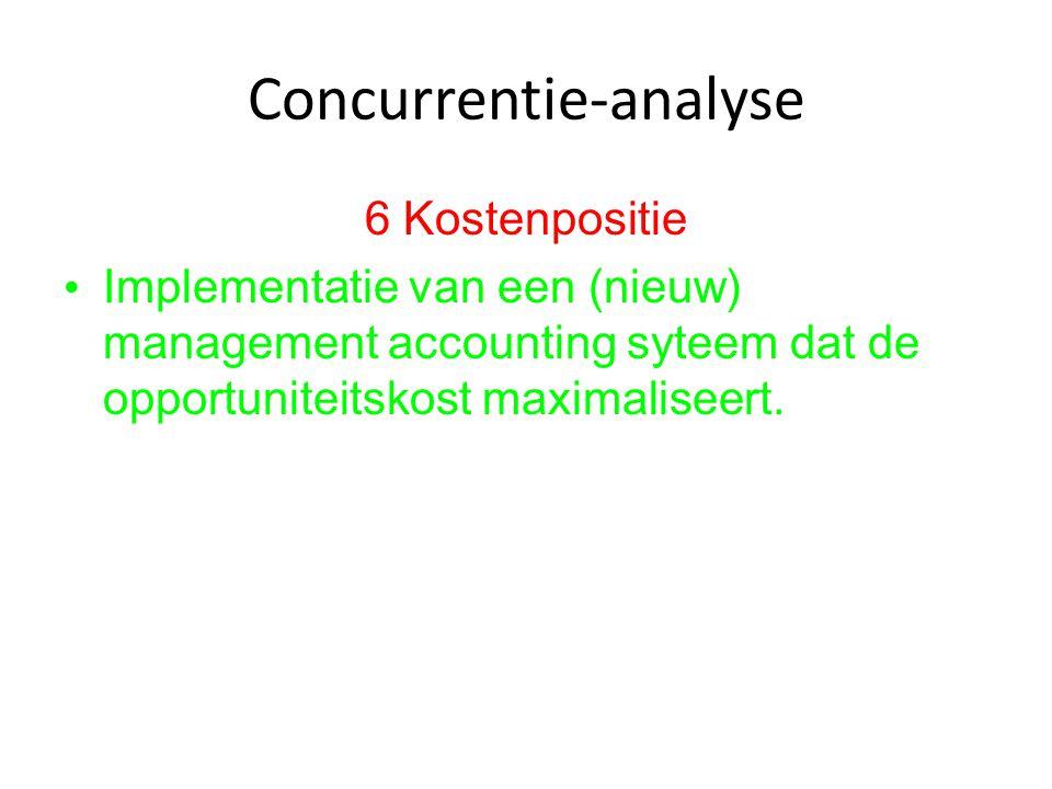 Concurrentie-analyse 6 Kostenpositie Implementatie van een (nieuw) management accounting syteem dat de opportuniteitskost maximaliseert.