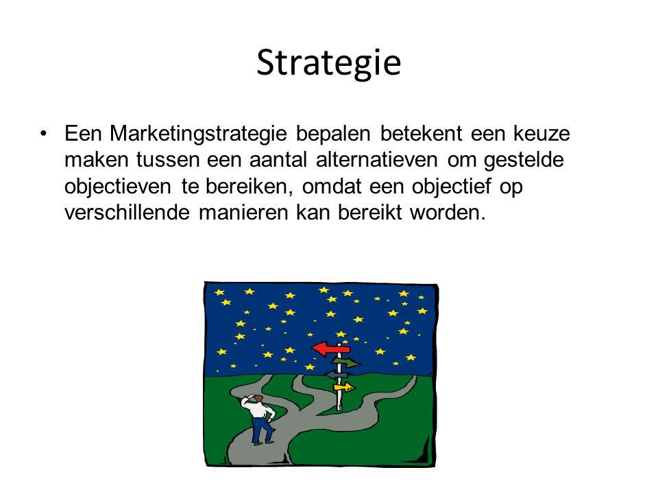 Strategie Een Marketingstrategie bepalen betekent een keuze maken tussen een aantal alternatieven om gestelde objectieven te bereiken, omdat een objec