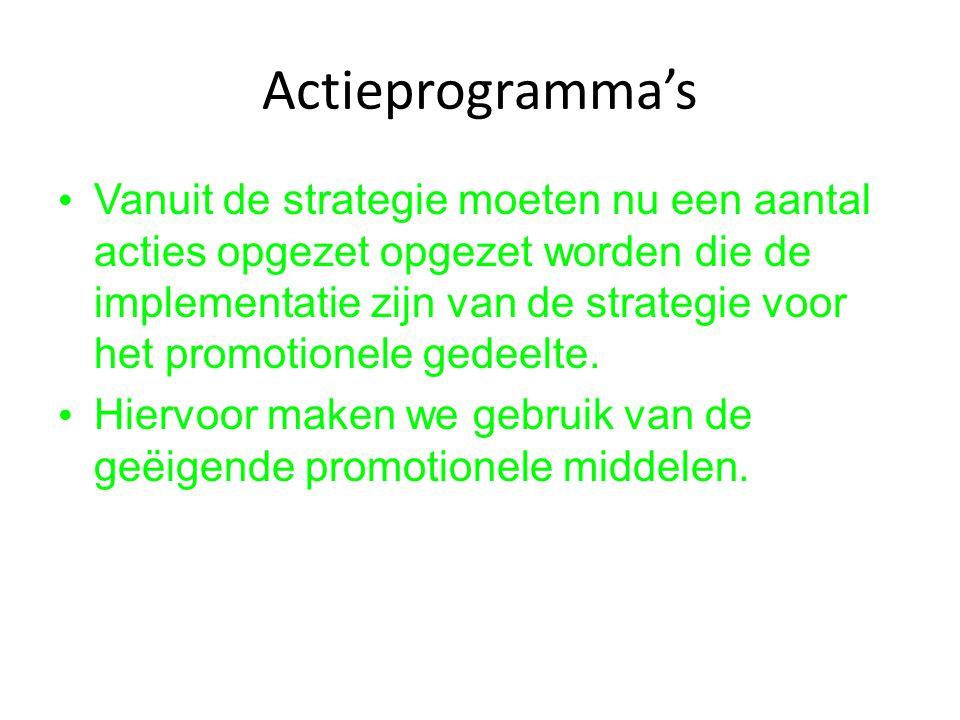 Actieprogramma's Vanuit de strategie moeten nu een aantal acties opgezet opgezet worden die de implementatie zijn van de strategie voor het promotione