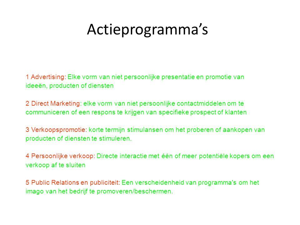 Actieprogramma's 1 Advertising: Elke vorm van niet persoonlijke presentatie en promotie van ideeën, producten of diensten 2 Direct Marketing: elke vor