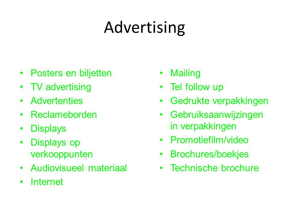 Advertising Mailing Tel follow up Gedrukte verpakkingen Gebruiksaanwijzingen in verpakkingen Promotiefilm/video Brochures/boekjes Technische brochure