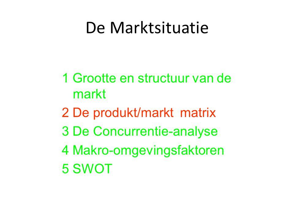 De Marktsituatie 1 Grootte en structuur van de markt 2 De produkt/markt matrix 3 De Concurrentie-analyse 4 Makro-omgevingsfaktoren 5 SWOT