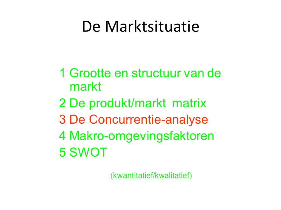 De Marktsituatie 1 Grootte en structuur van de markt 2 De produkt/markt matrix 3 De Concurrentie-analyse 4 Makro-omgevingsfaktoren 5 SWOT (kwantitatie