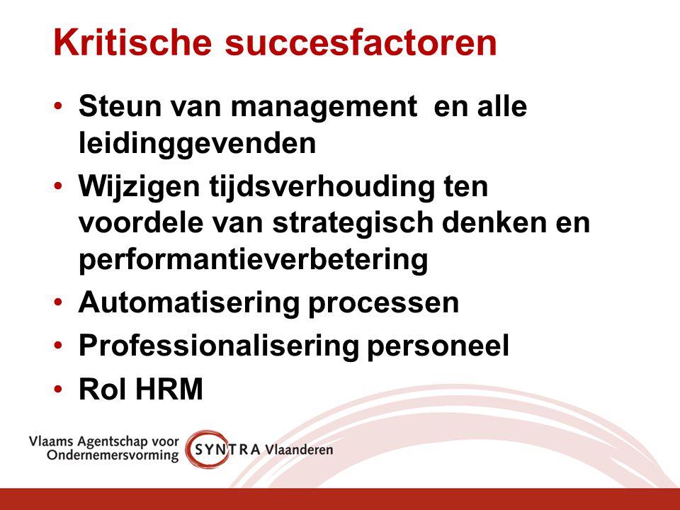 Kritische succesfactoren Steun van management en alle leidinggevenden Wijzigen tijdsverhouding ten voordele van strategisch denken en performantieverb