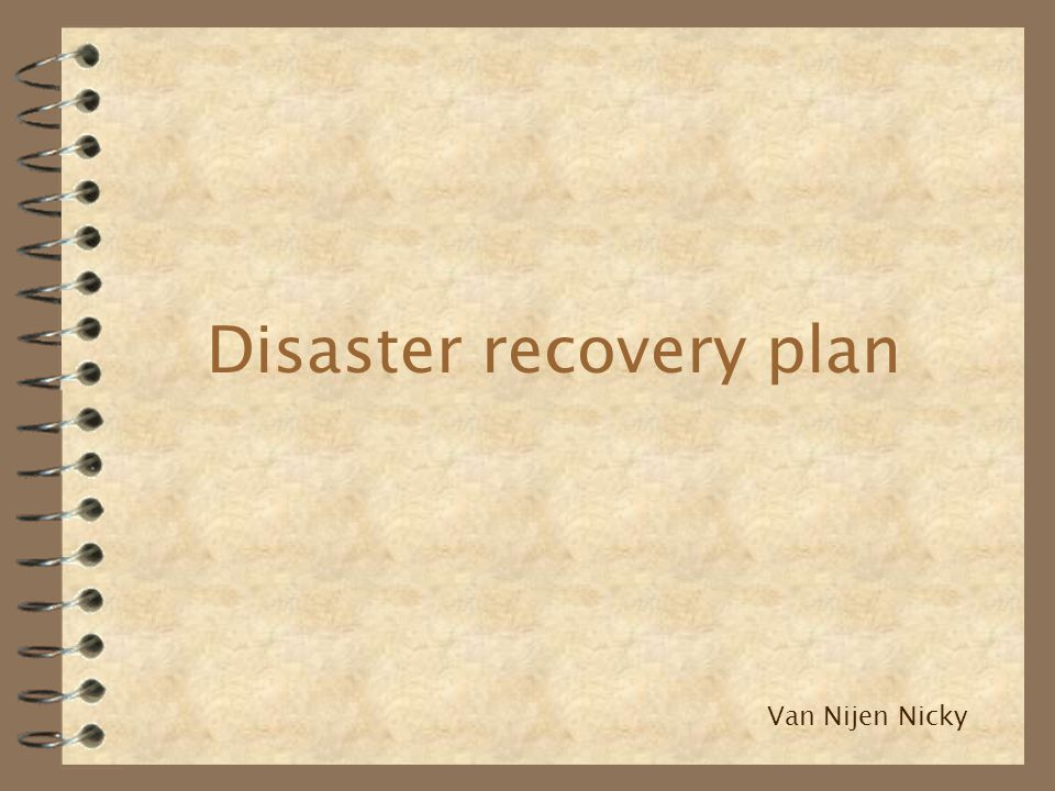 Disaster recovery plan Van Nijen Nicky