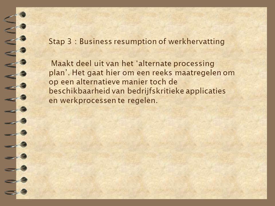 Stap 3 : Business resumption of werkhervatting Maakt deel uit van het 'alternate processing plan'. Het gaat hier om een reeks maatregelen om op een al