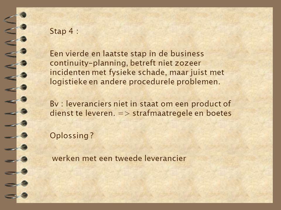 Stap 4 : Een vierde en laatste stap in de business continuity-planning, betreft niet zozeer incidenten met fysieke schade, maar juist met logistieke e