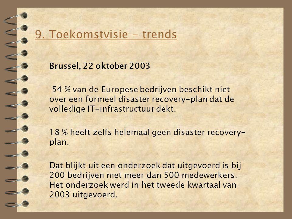 9. Toekomstvisie - trends Brussel, 22 oktober 2003 54 % van de Europese bedrijven beschikt niet over een formeel disaster recovery-plan dat de volledi