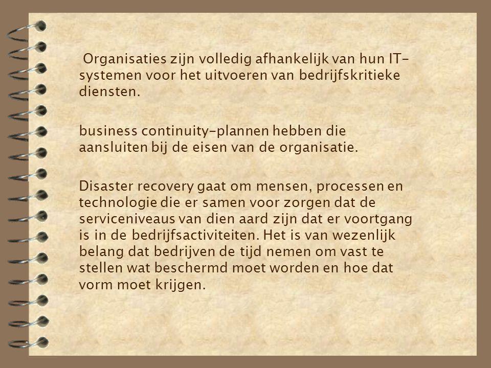 Organisaties zijn volledig afhankelijk van hun IT- systemen voor het uitvoeren van bedrijfskritieke diensten. business continuity-plannen hebben die a