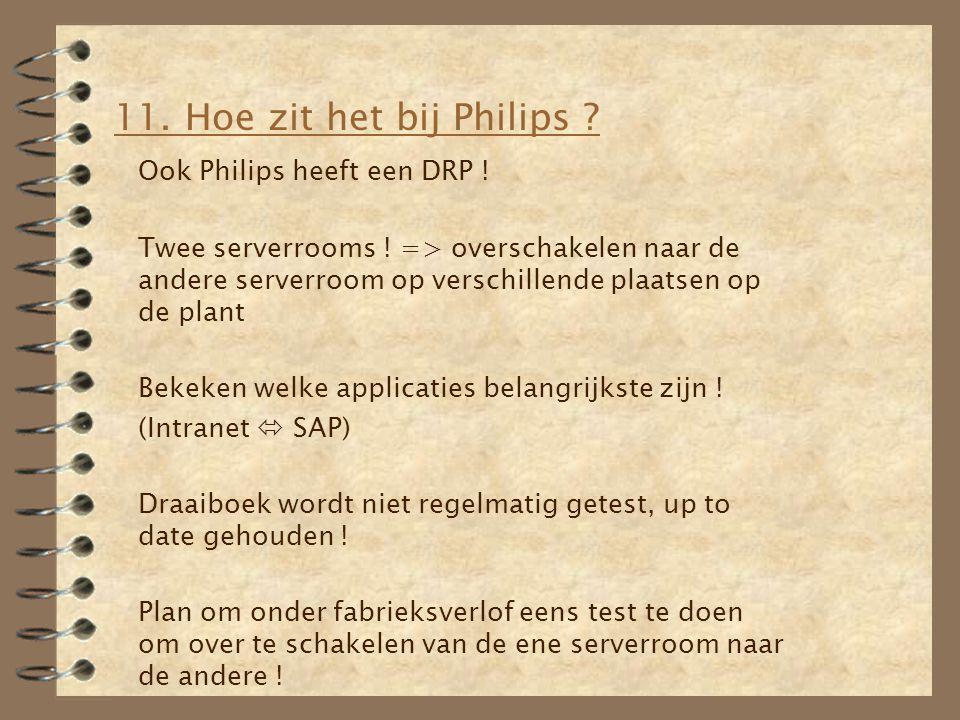 11. Hoe zit het bij Philips ? Ook Philips heeft een DRP ! Twee serverrooms ! => overschakelen naar de andere serverroom op verschillende plaatsen op d