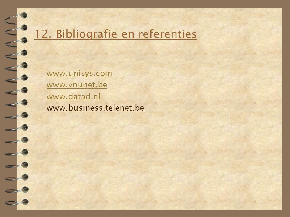 12. Bibliografie en referenties www.unisys.com www.vnunet.be www.datad.nl www.business.telenet.be