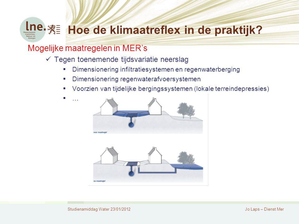 Studienamiddag Water 23/01/2012Jo Laps – Dienst Mer Hoe de klimaatreflex in de praktijk.
