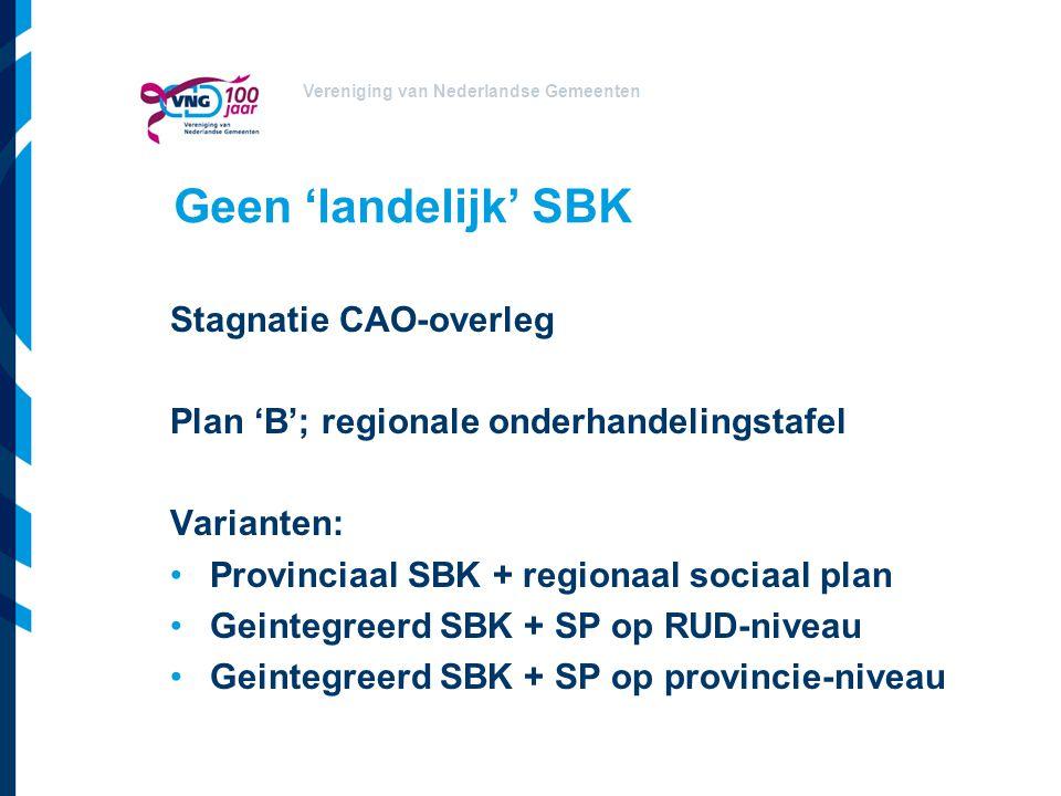 Vereniging van Nederlandse Gemeenten Geen 'landelijk' SBK Stagnatie CAO-overleg Plan 'B'; regionale onderhandelingstafel Varianten: Provinciaal SBK + regionaal sociaal plan Geintegreerd SBK + SP op RUD-niveau Geintegreerd SBK + SP op provincie-niveau