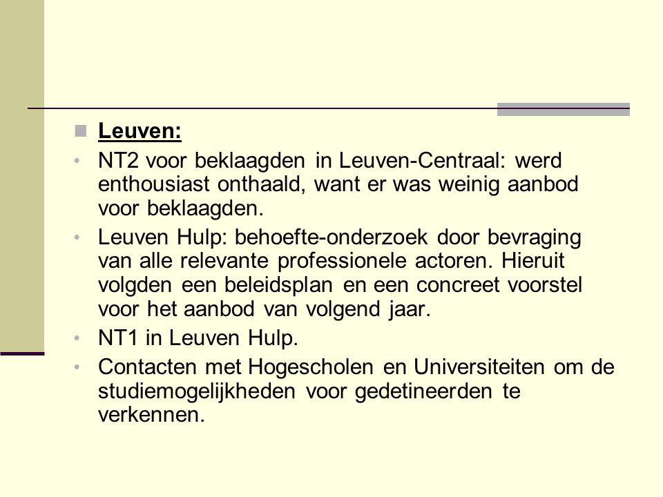 Leuven: NT2 voor beklaagden in Leuven-Centraal: werd enthousiast onthaald, want er was weinig aanbod voor beklaagden.