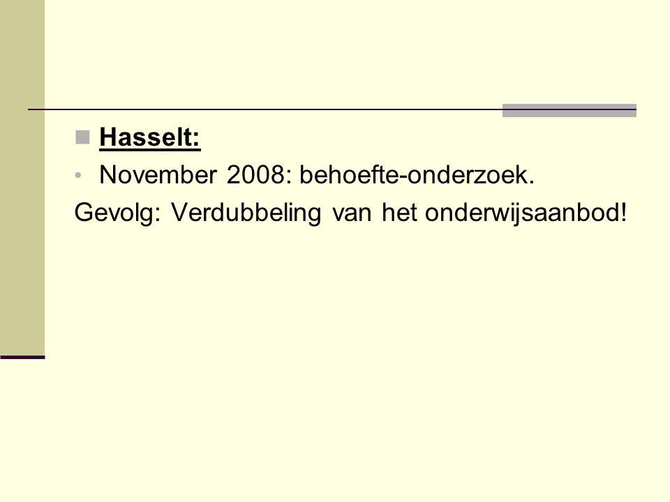 Hasselt: November 2008: behoefte-onderzoek. Gevolg: Verdubbeling van het onderwijsaanbod!