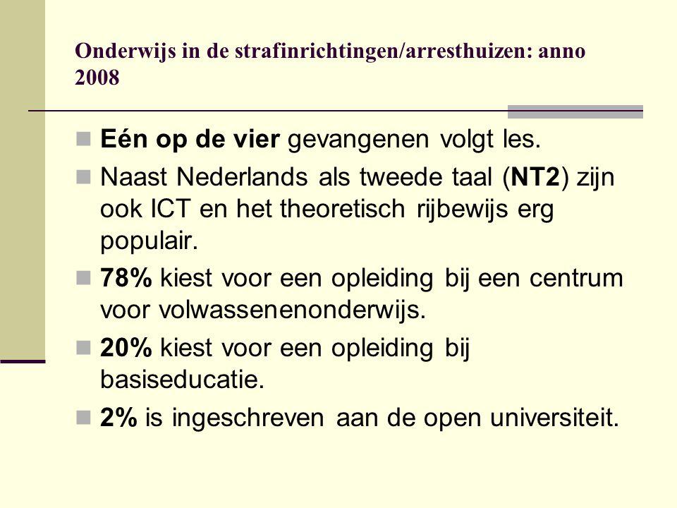 Onderwijs in de strafinrichtingen/arresthuizen: anno 2008 Eén op de vier gevangenen volgt les. Naast Nederlands als tweede taal (NT2) zijn ook ICT en