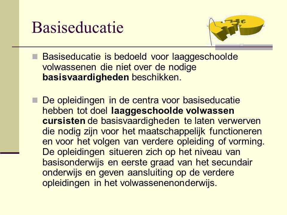Basiseducatie Basiseducatie is bedoeld voor laaggeschoolde volwassenen die niet over de nodige basisvaardigheden beschikken. De opleidingen in de cent