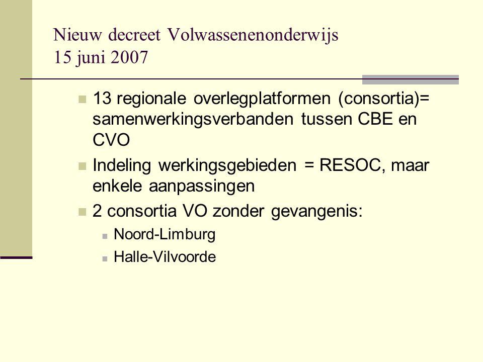 Nieuw decreet Volwassenenonderwijs 15 juni 2007 13 regionale overlegplatformen (consortia)= samenwerkingsverbanden tussen CBE en CVO Indeling werkingsgebieden = RESOC, maar enkele aanpassingen 2 consortia VO zonder gevangenis: Noord-Limburg Halle-Vilvoorde