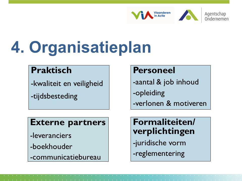 4. Organisatieplan Personeel -aantal & job inhoud -opleiding -verlonen & motiveren Externe partners -leveranciers -boekhouder -communicatiebureau Prak
