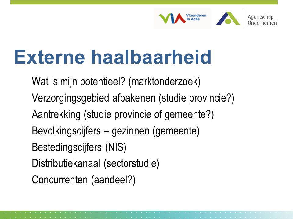 Externe haalbaarheid Wat is mijn potentieel? (marktonderzoek) Verzorgingsgebied afbakenen (studie provincie?) Aantrekking (studie provincie of gemeent