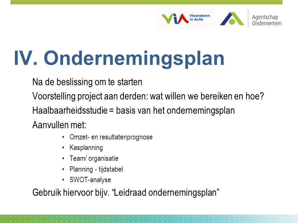 IV. Ondernemingsplan Na de beslissing om te starten Voorstelling project aan derden: wat willen we bereiken en hoe? Haalbaarheidsstudie = basis van he