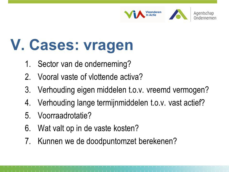 V. Cases: vragen 1.Sector van de onderneming? 2.Vooral vaste of vlottende activa? 3.Verhouding eigen middelen t.o.v. vreemd vermogen? 4.Verhouding lan