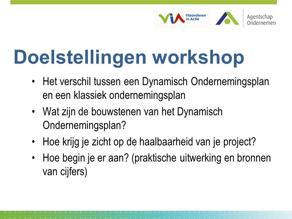 Doelstellingen workshop Het verschil tussen een Dynamisch Ondernemingsplan en een klassiek ondernemingsplan Wat zijn de bouwstenen van het Dynamisch O