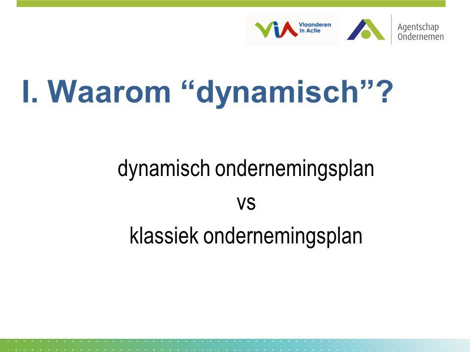 """I. Waarom """"dynamisch""""? dynamisch ondernemingsplan vs klassiek ondernemingsplan"""