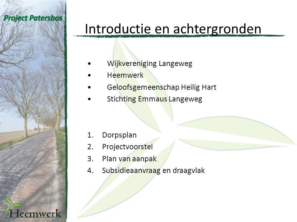 Introductie en achtergronden Wijkvereniging Langeweg Heemwerk Geloofsgemeenschap Heilig Hart Stichting Emmaus Langeweg 1.Dorpsplan 2.Projectvoorstel 3