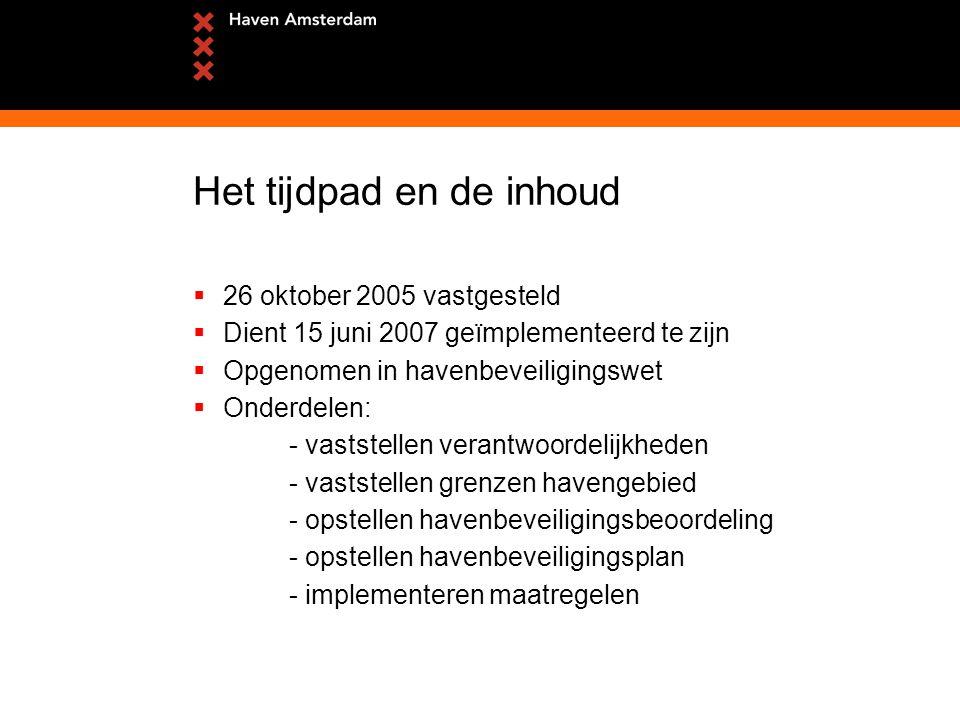 Het tijdpad en de inhoud  26 oktober 2005 vastgesteld  Dient 15 juni 2007 geïmplementeerd te zijn  Opgenomen in havenbeveiligingswet  Onderdelen: - vaststellen verantwoordelijkheden - vaststellen grenzen havengebied - opstellen havenbeveiligingsbeoordeling - opstellen havenbeveiligingsplan - implementeren maatregelen